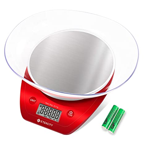 Etekcity Food Kitchen Scale Digital Weight Grams And Oz Removalble Bowl For Cooking And Baking Red Stainless Steel