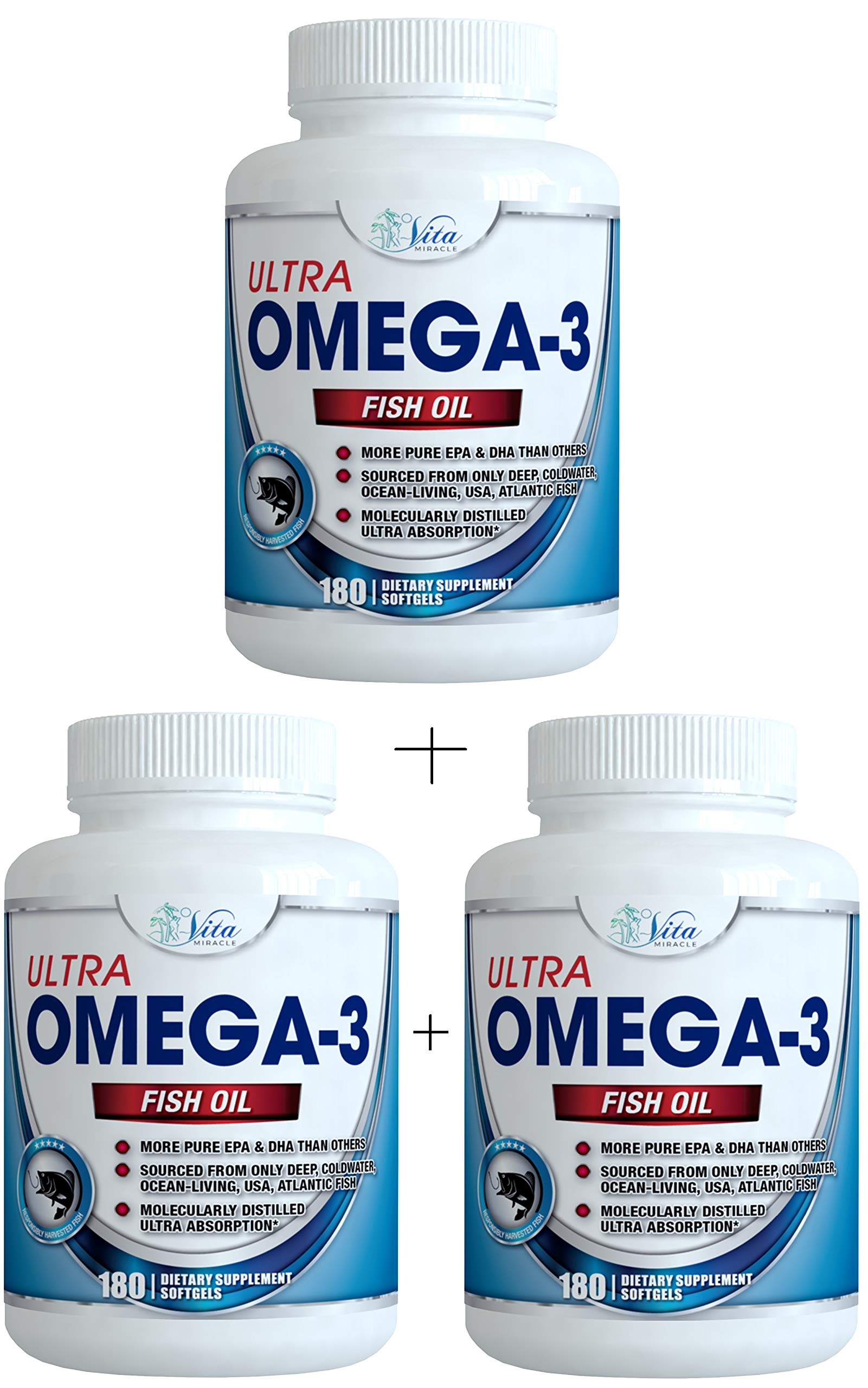 Ultra Omega 3 Fish Oil 3,000mg High Strength Burpless Joint Support Supplement 915mg EPA and 630 mg DHA Molecularly Distilled Pure Ocean Living Cold Water Fish Oils (3 Pack)