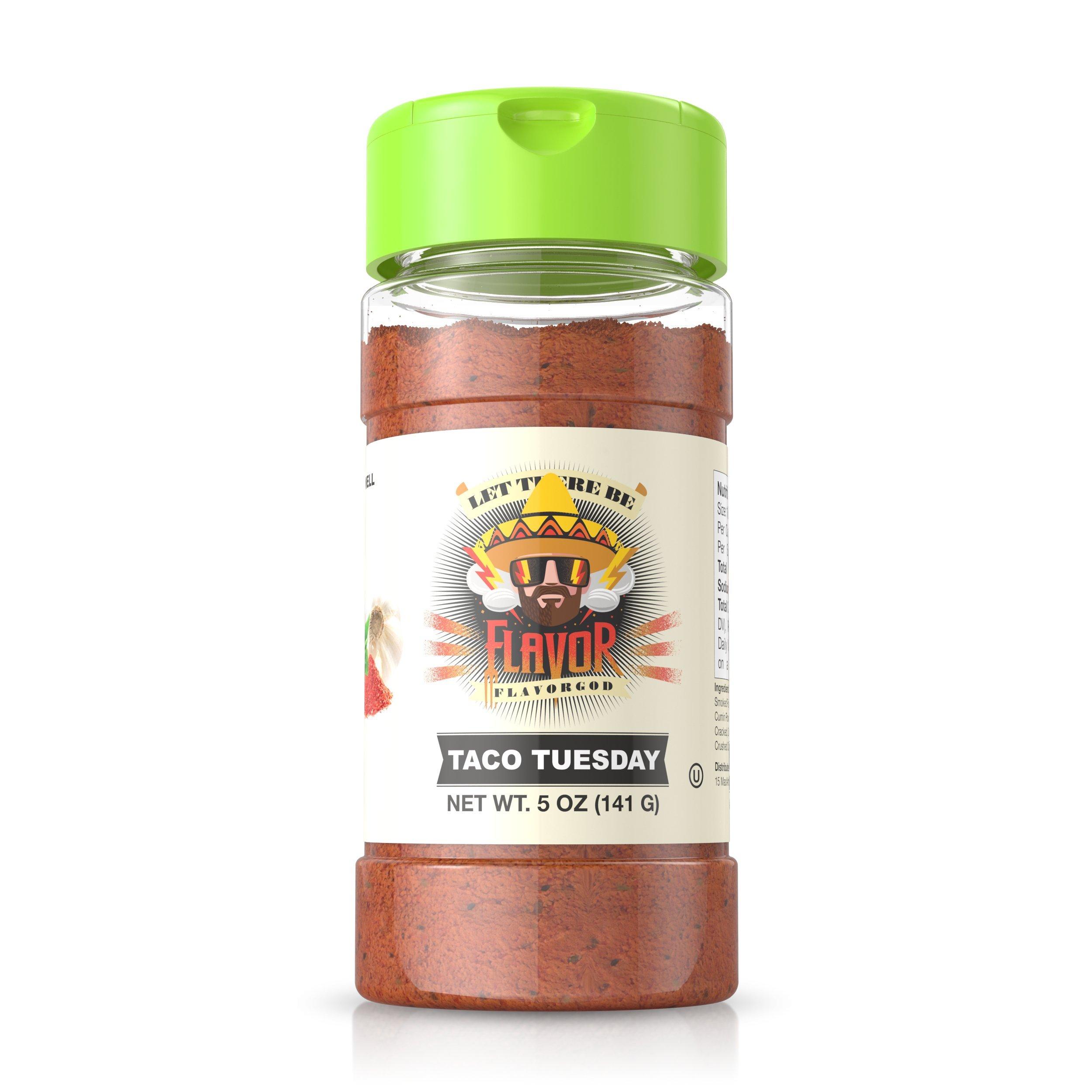 Flavor God #1 Best-Selling, Taco Tuesday Seasoning, 1 Bottle, 5 oz