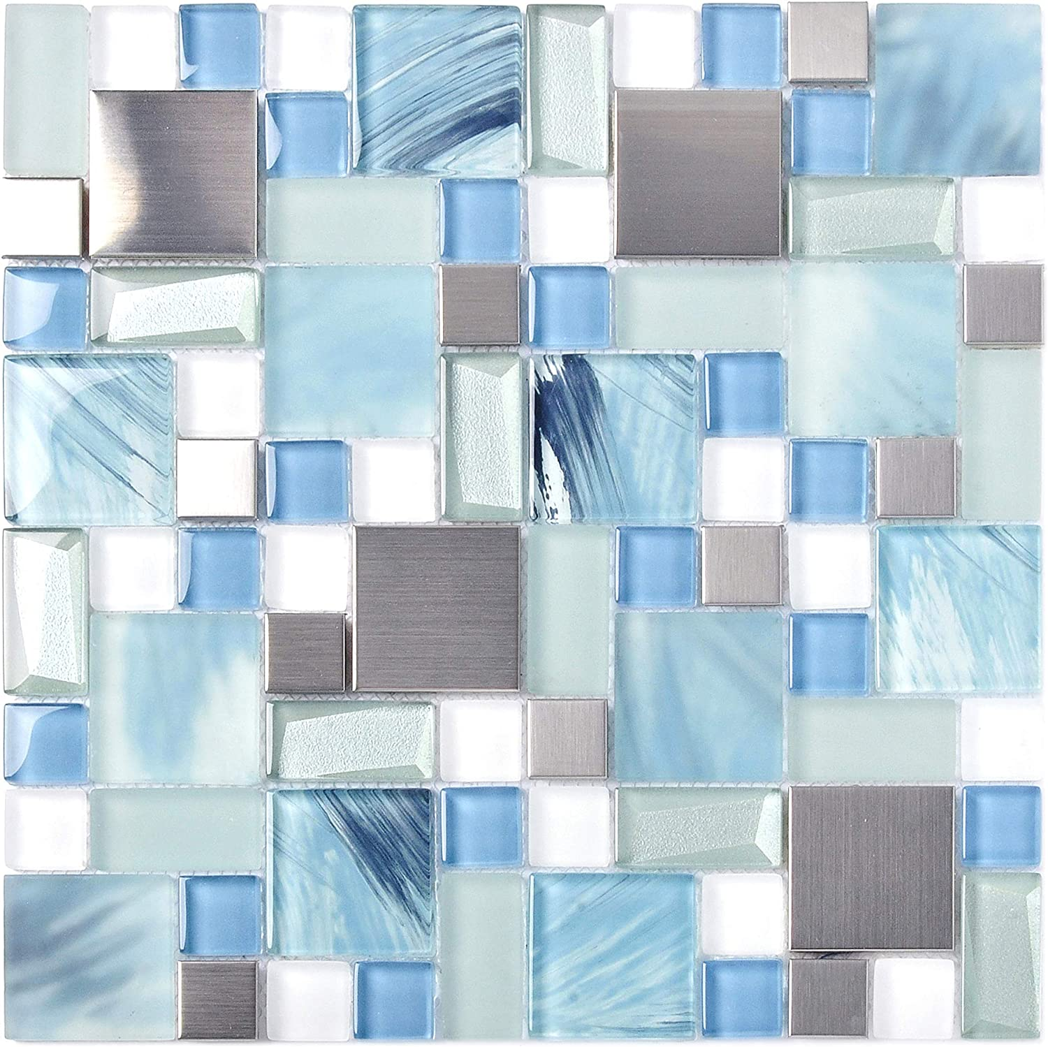 - Sea Blue Green Glass Stainless Steel Tile White Kitchen Bath Backsplash  Artistic Mosaic TSTMGB028 (1 Sample 12x12 Inches) - - Amazon.com