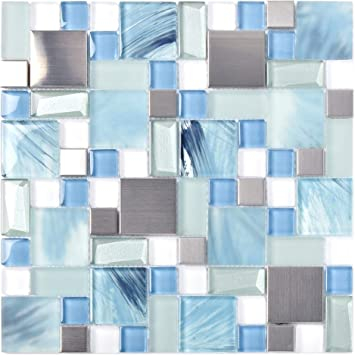 Sea Blue Green Glass Stainless Steel Tile White Kitchen Bath Backsplash Artistic Mosaic Tstmgb028 1 Sample 12x12 Inches Amazon Com