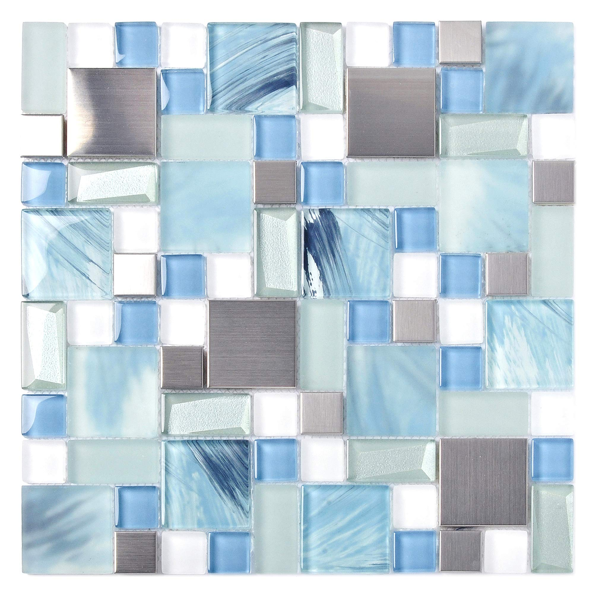 Sea Blue Green Glass Stainless Steel Tile White Kitchen Bath Backsplash Artistic Mosaic TSTMGB028 (5 Square Feet) by BLUJELLYFISH