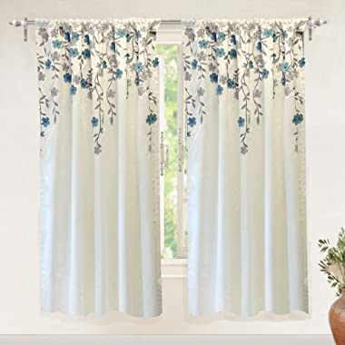 """DriftAway Isabella Faux Silk Embroidered Window Curtain, Embroidered Crafted Flower, Lined with Thermal Fabric, Single Panel, 50""""x63"""" (Ivory/Blue)"""