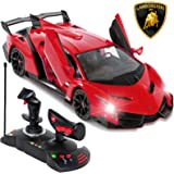 Best Choice Products 1/14 Scale Remote Control Luxury Car Lamborghini Veneno Toy for Kids w/ Gravity Sensor, Engine Sounds, Head and Rear Lights, Opening Door - Red