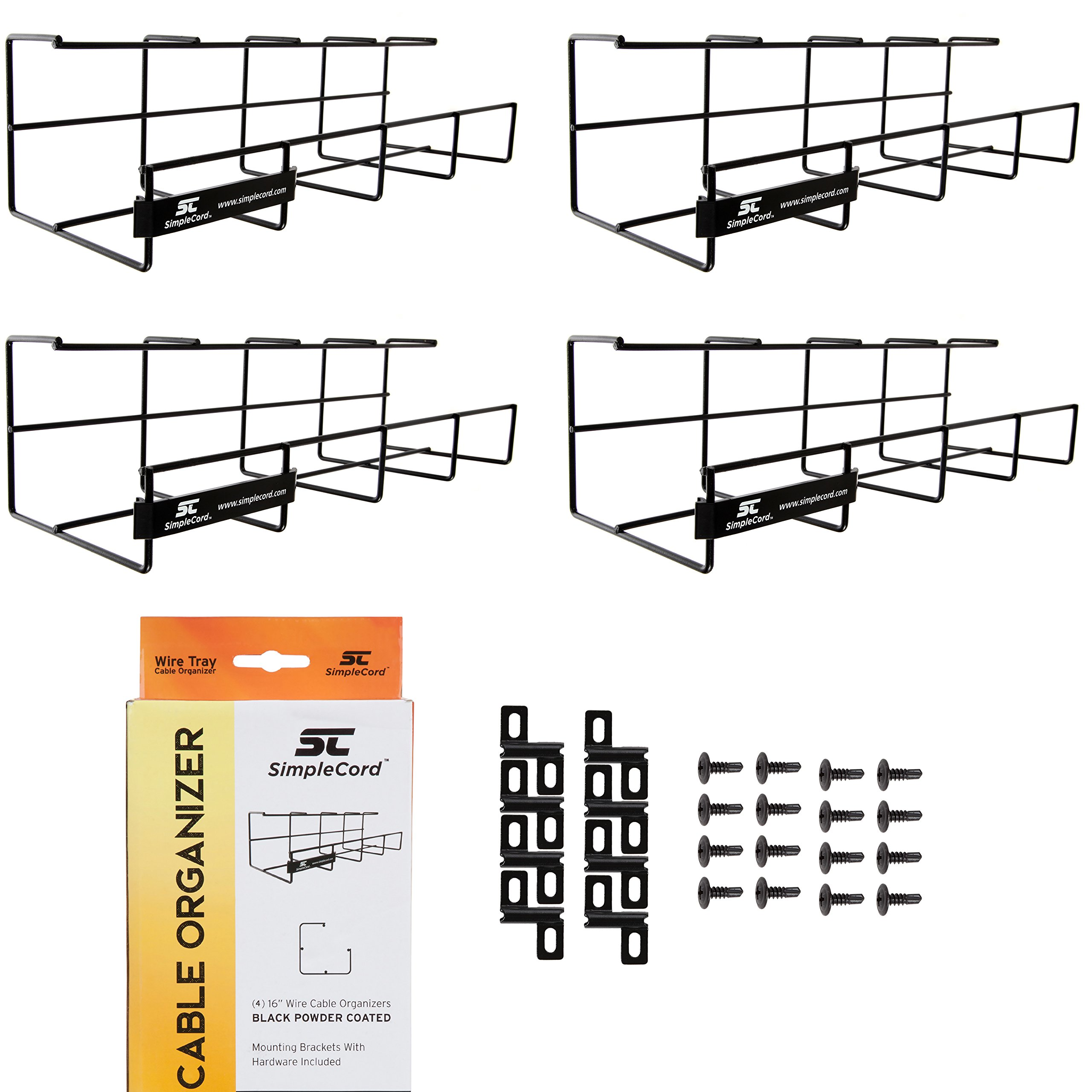 Wire Tray Desk Cable Organizer - 64'' Open Slot Raceway to Hold Cables, Cords, or Wires on Desks - Office Cable Management (2 Pack)
