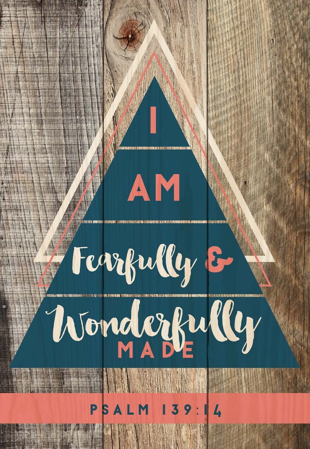 P. Graham Dunn I Am Fearfully and Wonderfully Made Navy and Coral 6.5 x 4.5 Small Wood Plank Design Plaque Sign