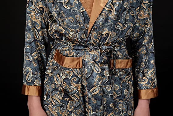 Waymoda Mens Luxury Silky Satin Evening Dressing Gown, Male Classic Elegant Paisley Pattern Kimono Wrap Robe, Dark Blue Colors, 3 Sizes Optional - Long ...