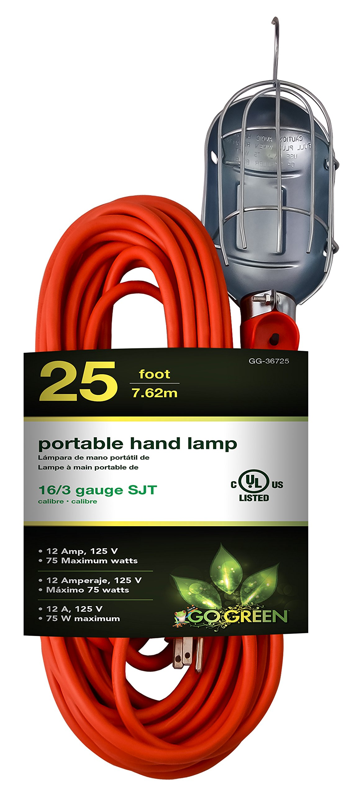 GoGreen Power GG-36725 16/3 25' Portable Hand Lamp