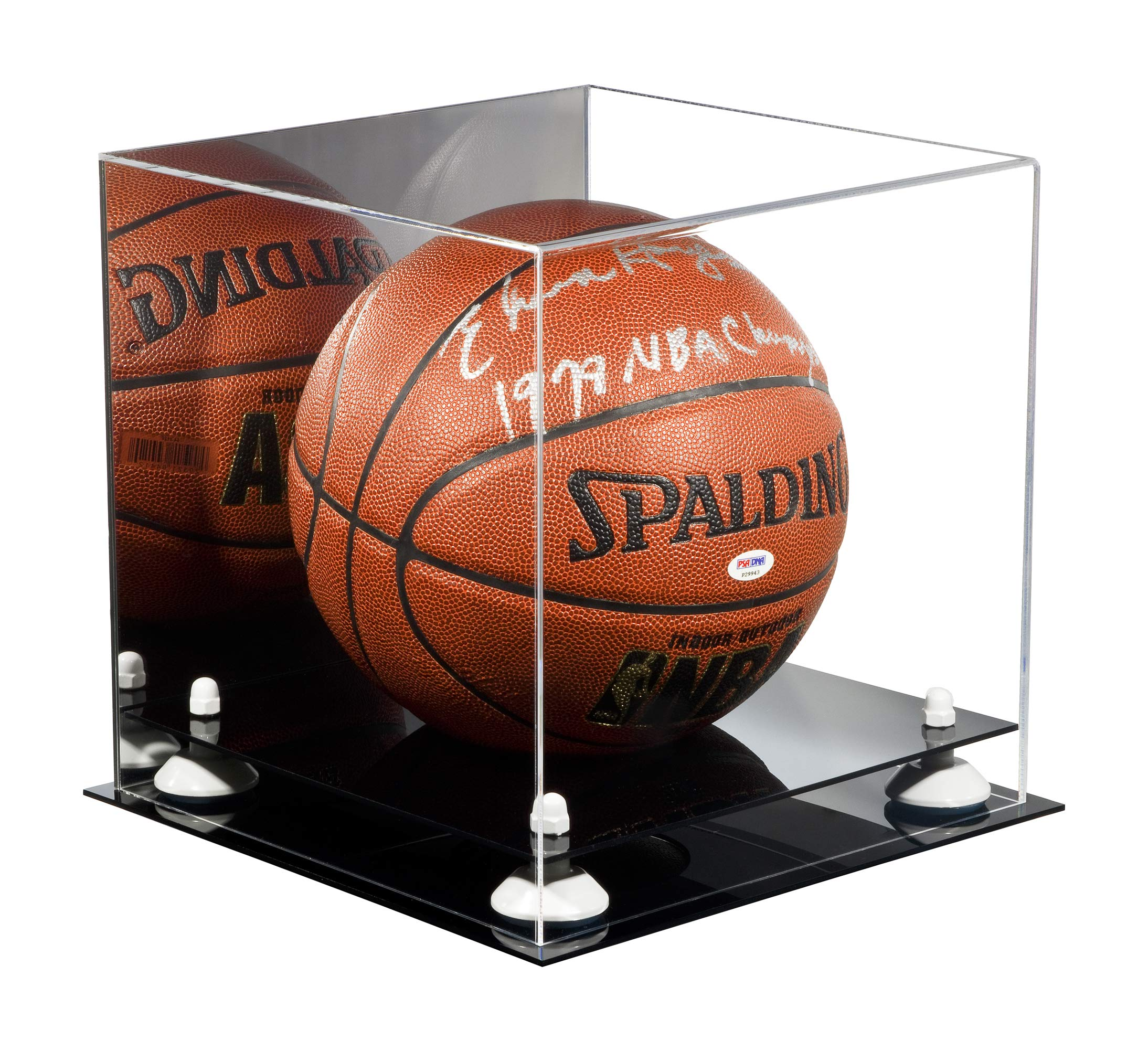 Deluxe Acrylic Basketball Display Case with White Risers and Mirror (A001-WR) by Better Display Cases