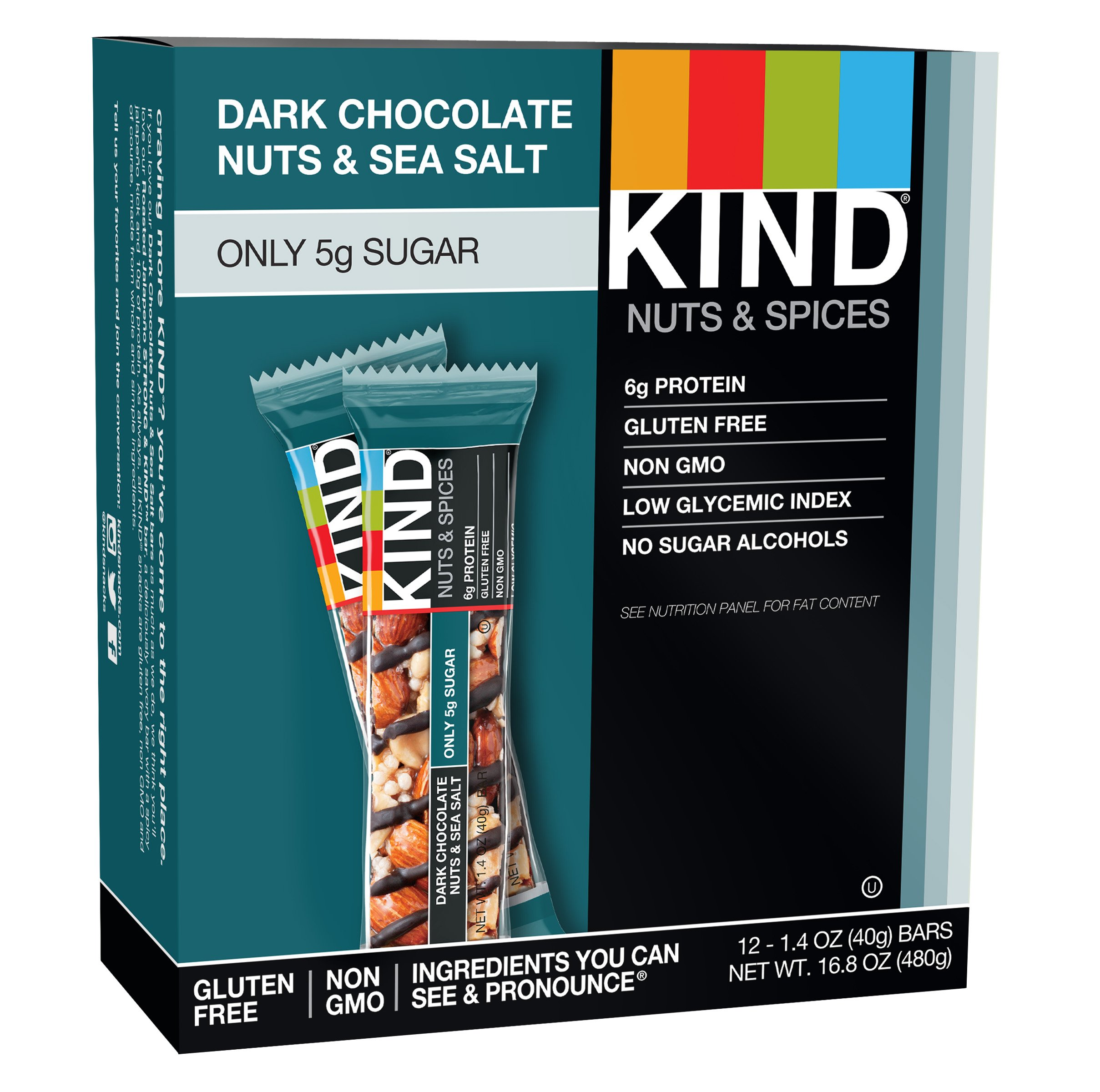 KIND Bars, Dark Chocolate Nuts & Sea Salt 12ct, Gluten Free, 6g Protein, 5g Sugar