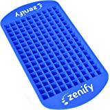 Zenify Ice Cube Tray Mini 160 - Chill your Fruit Smoothies, Blended & Bar Drinks Faster - Food Grade Silicone Tiny Small Grid Mould Set to Cool Freezer Crushed Blender Frozen Kitchen Gadgets Party Chocolate Bites Jelly Maker (Blue)