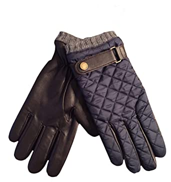 e4158878b60d Image Unavailable. Image not available for. Color  POLO Ralph Lauren Men s  Leather Driving Quilted Gloves Navy Brown M