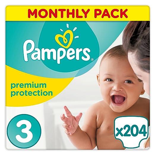 510 opinioni per Pampers New Baby Premium Protection, 204 Pannolini, Taglia 3 (5-9 kg)