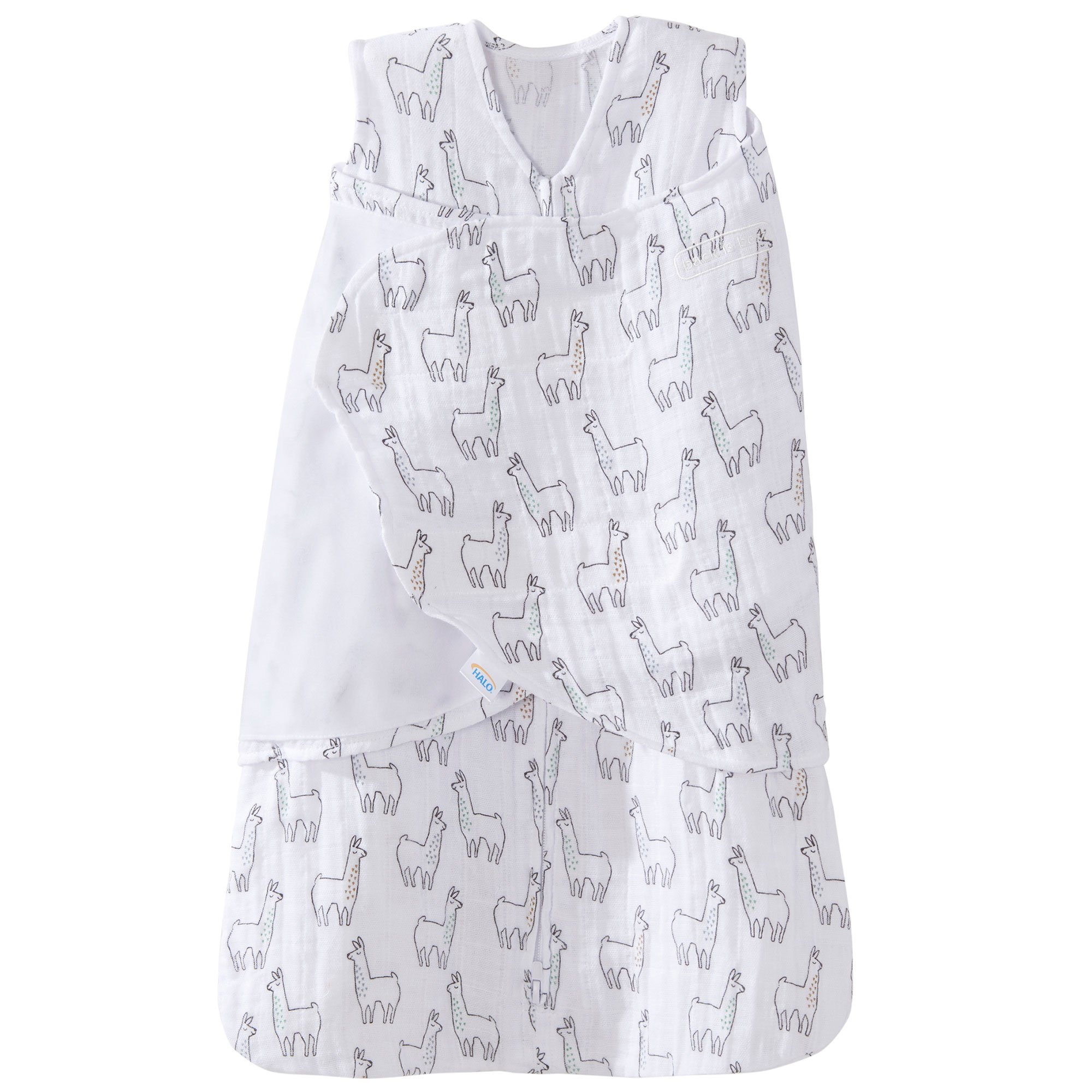 Halo 100% Cotton Muslin Sleepsack Swaddle Wearable Blanket, Llama Print, Small by Halo