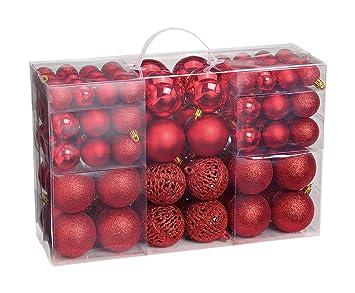 Weihnachtsdeko Silber Rot.Woma Christbaumkugeln Set In 4 Weihnachtlichen Farben 50 100 Weihnachtskugeln Aus Kunststoff Gold Silber Rot Bronze Kupfer Weihnachtsdeko