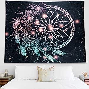 TapestryforBedroom, DreamCatcherTapestryGalaxyWallTapestry Psychedelic Space Universe Tapestry Wall Hanging, Wall tapestry for bedroom Living Room, Dorm Decor (Black and Multicolor, 51.2