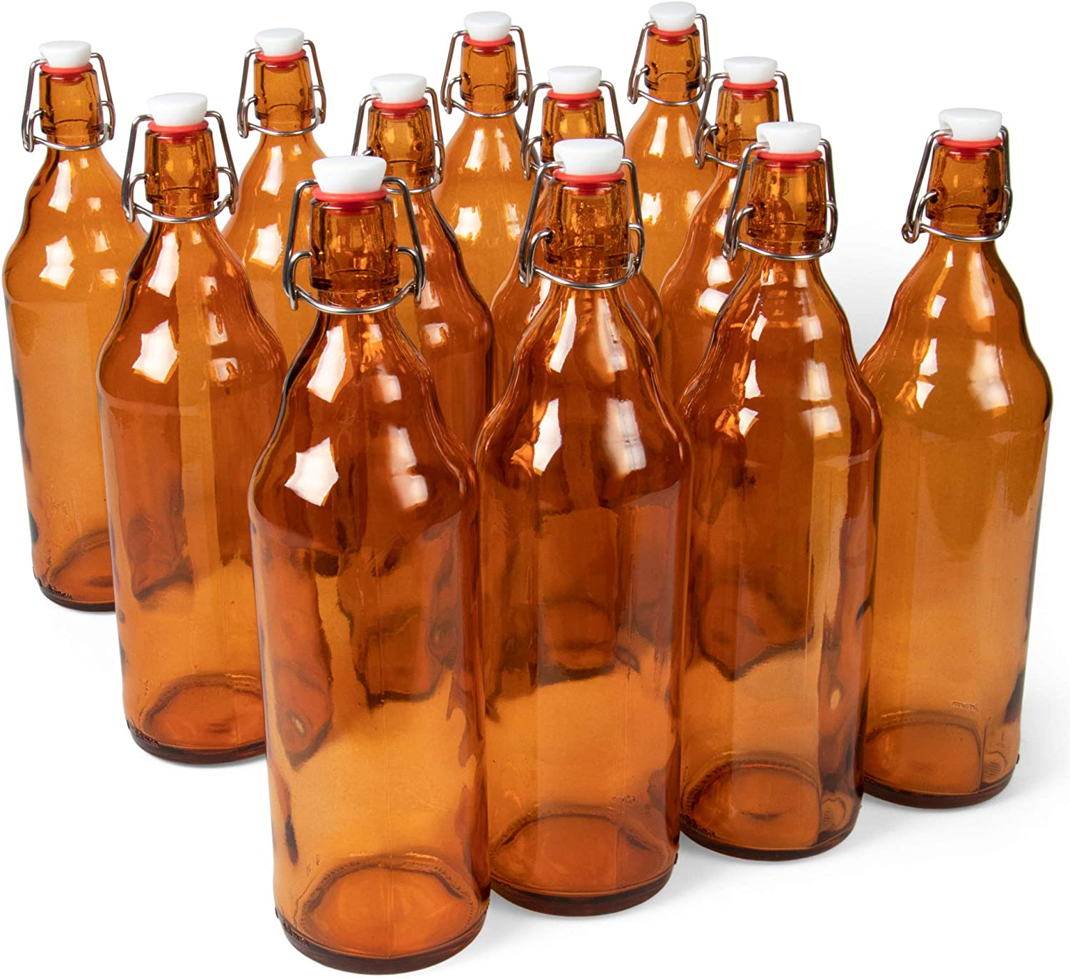 33 oz. Amber Glass Grolsch Beer Bottles, Quart Size – Airtight Seal with Swing Top/Flip Top - Supplies for Home Brewing & Fermenting of Alcohol, Kombucha Tea, Wine, Homemade Soda (12-pack)