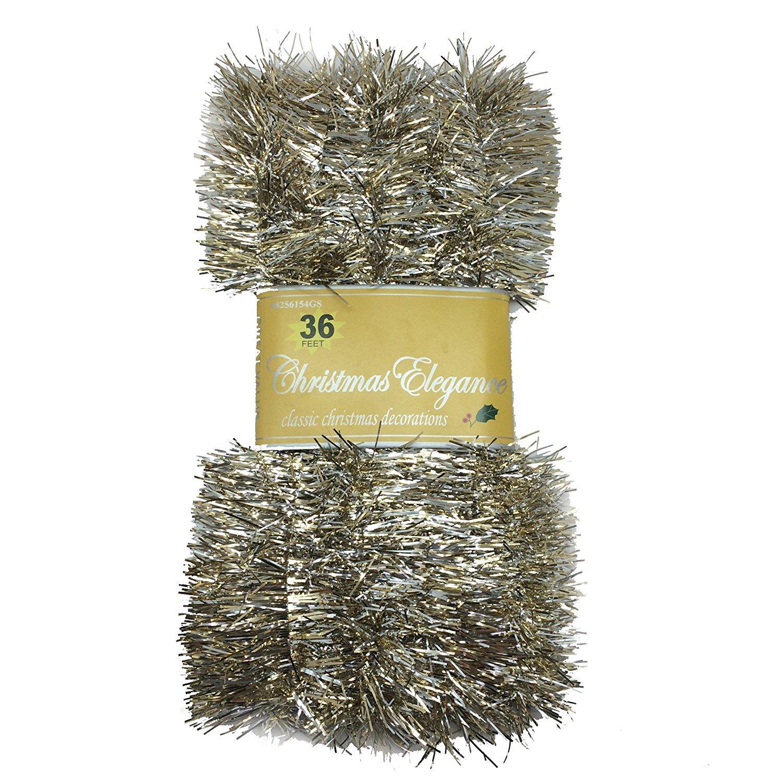 Amazoncom 36 Ft Christmas Garland Classic Christmas Decorations, Goldsilver Home