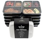 Food Containers 3 Compartment Bento Box Storage with Lids, Set of 10, For Meal Prep, 21 Day Fix, By California Home Goods