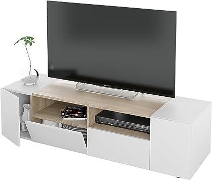 Habitdesign 0F6624A - Mueble de Salon, modulo Comedor Tamiko, Acabado Blanco Artik y Roble Canadian, Medida: 138 cm (Ancho) x 34 cm (Alto) x 40,2 cm (Fondo).: Amazon.es: Hogar