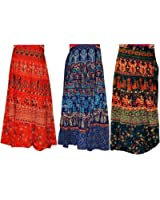 BILOCHI'S Women's Traditional And Jaipuri Print Cotton Wrap-around Skirt Combo Pack of 3 pec( Multi-Coloured,Assorted Design & Assorted Color).