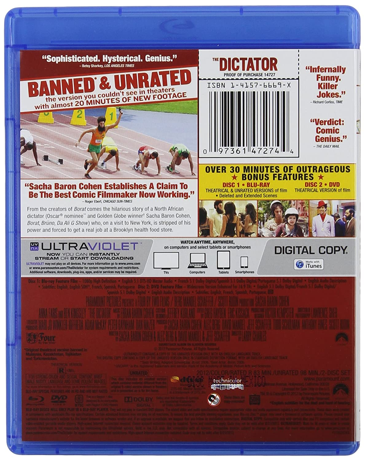 Amazon.com: The Dictator - BANNED & UNRATED Version (Two-disc Blu-ray/DVD Combo + Digital Copy) (2012): Movies & TV
