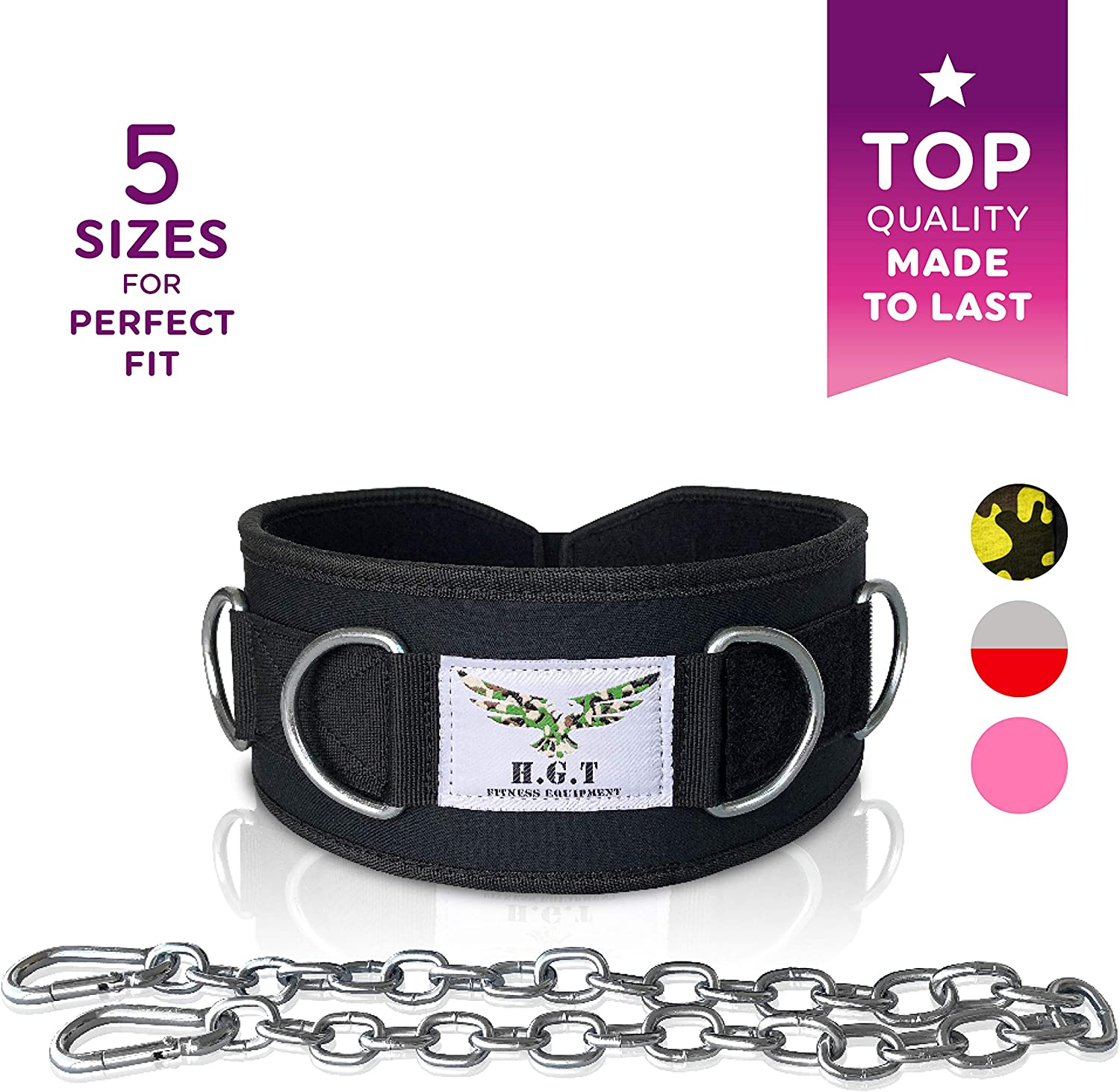 Premium Weight Lifting Belts by H.G.T – Hip Squat Dip Belt, Weightlifting, Mobility Belt – 7 D-Rings, Chain, 5 Sizes for Men, Women – Cable Machine, Resistance Bands Attachment
