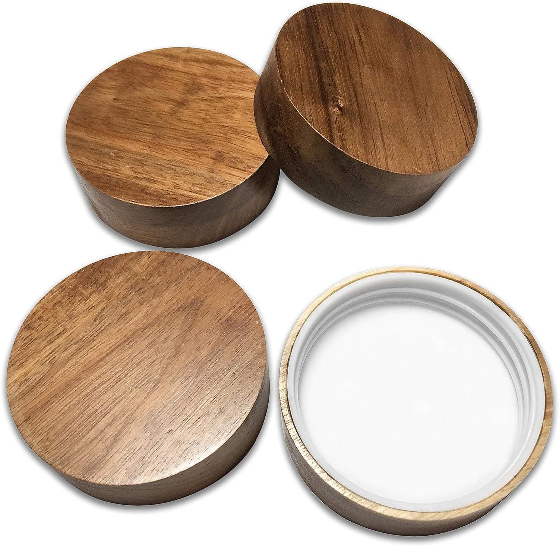 Wooden Mason Jar Lids - 4 Mason Jar Lids Wide Mouth (Acacia Wood) - Custom Molded Screw Top Mason Jar Lid Set Compatible Storage Lids for Kerr and Ball Jar Lids by Kitchen Charisma