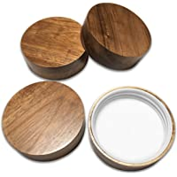 Wooden Mason Jar Lids - 4 Mason Jar Lids Regular Mouth (Acacia Wood) - Custom Molded Screw Top Mason Jar Lid Set Compatible Storage Lids for Kerr and Ball Jar Lids by Kitchen Charisma