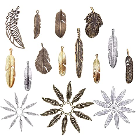 Jewelry Findings Making Accessory For DIY Necklace Bracelet M17 Craft Supplies Mixed Feather Pendants Beads Charms Pendants for Crafting 100g about30-32pcs Feather charms