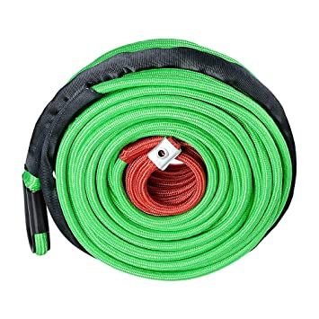 """GREEN 3//8/"""" x 95/' 22000lbs Synthetic Winch Rope Recovery Line Cable w//Guard 7//16/"""""""