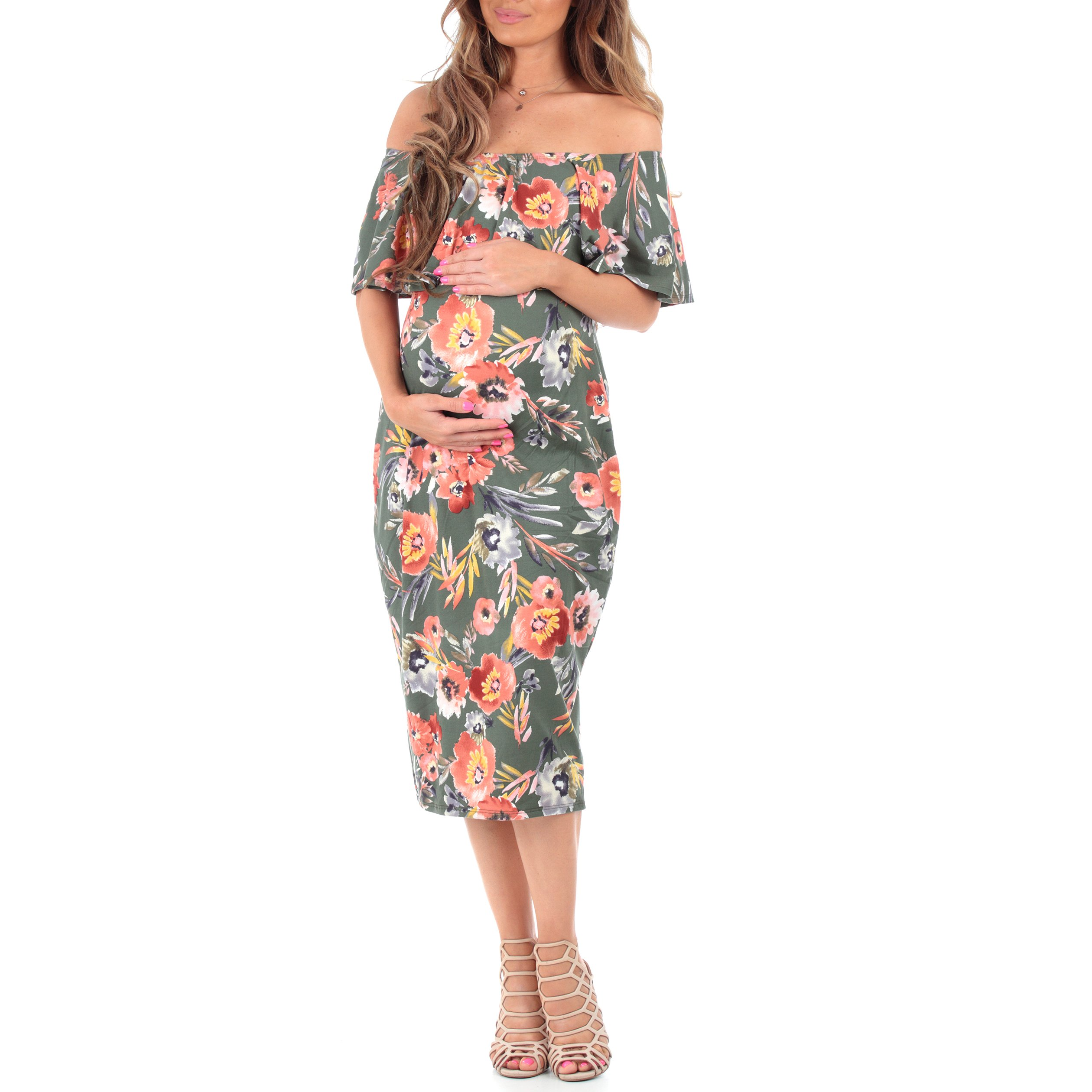Mother Bee Women's Off Shoulder Ruffle Maternity Dress by Made In USA (L, Floral Olive)