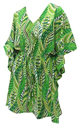 a4687f4e68 LA LEELA Printed Plus Size Women s Beach Swim Kaftan Cover up Green ...