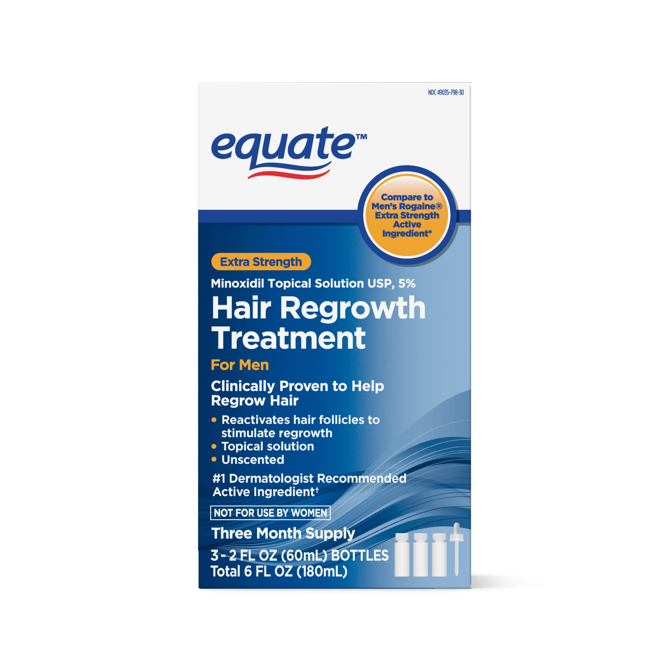 Equate - Hair Regrowth Treatment for Men with Minoxidil 5% Extra Strength, 3 Month Supply, 2 Ounce Bottle, 3 Count