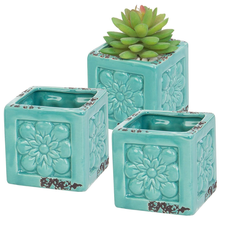 Set of 3 Rustic Style Turquoise Ceramic Floral Design Succulent Plant Pots Mini Herb Cacti Planters