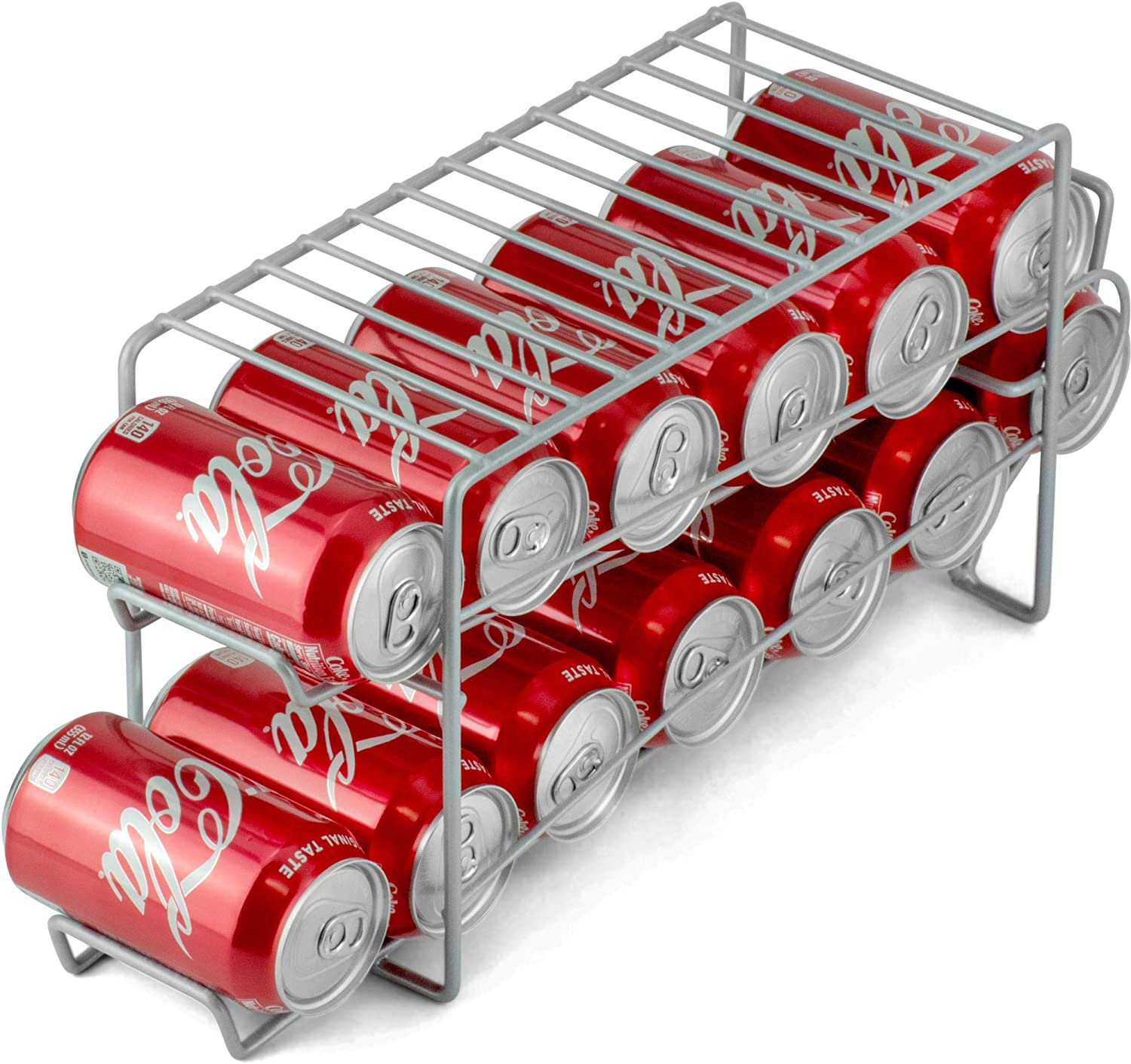 DecorRack Stackable Front Loading Beverage Can Dispenser Rack, Stacking Can Organizer for Soda Cans Holder for Refrigerator, Kitchen Cabinet, Pantry, Fridge, Gray (1 Pack)