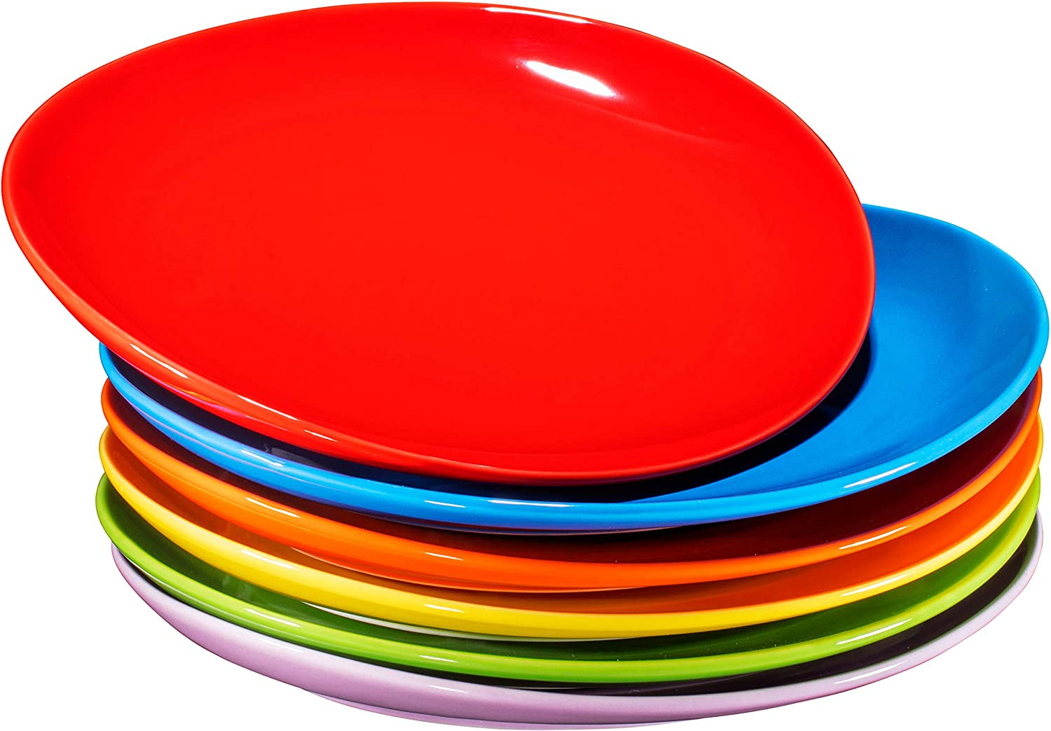 "Pro-Grade 11"" Curved Ceramic Restaurant Dinner Plates, Gradient Colors, Set of 6"