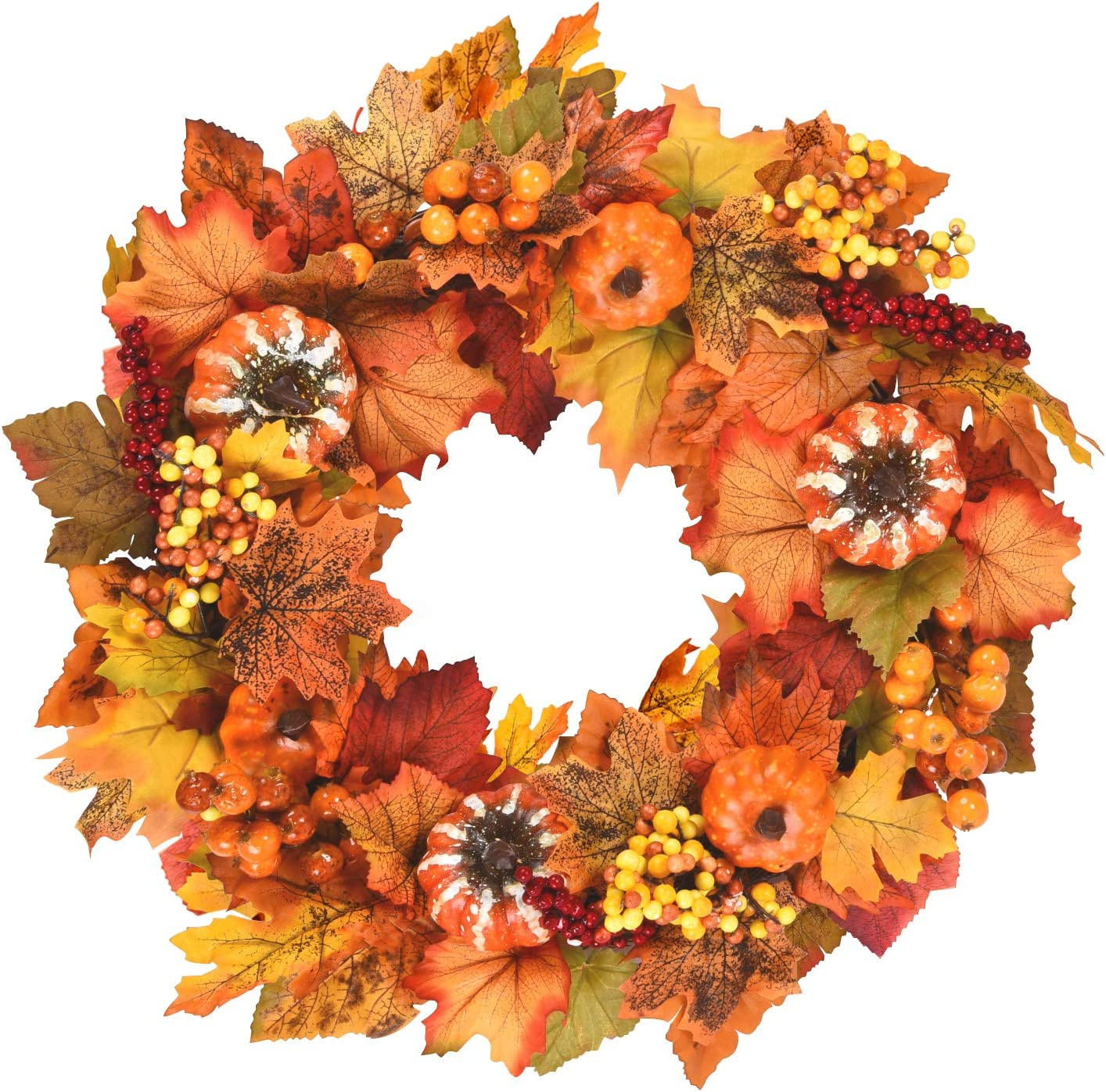 Fall Wreath with Pumpkins, Berries, Maple Leaves Artificial Fall Berry Wreath Harvest Wreath Fall for Autumn Wedding Party Thanksgiving Home Decor