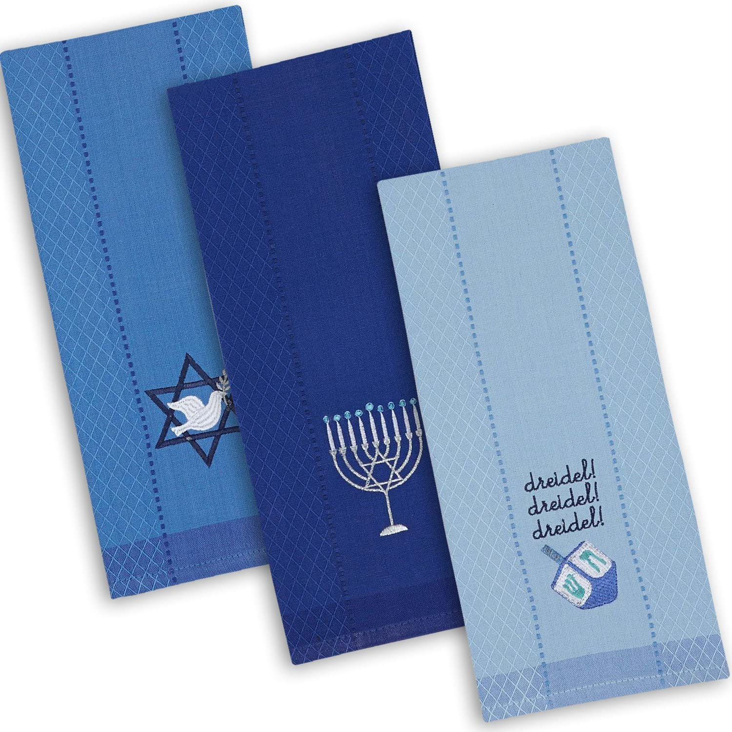 """DII Cotton Hanukkah Holiday Dish Towels, 18x28"""" Set of 3, Decorative Oversized Kitchen Towels, Perfect Home and Kitchen Gift"""