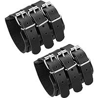 LOLIAS Mens Genuine Leather Wide Triple Strap Cuff Wrap Gauntlet Wristband Buckle Fastening Arm Armor Cuff