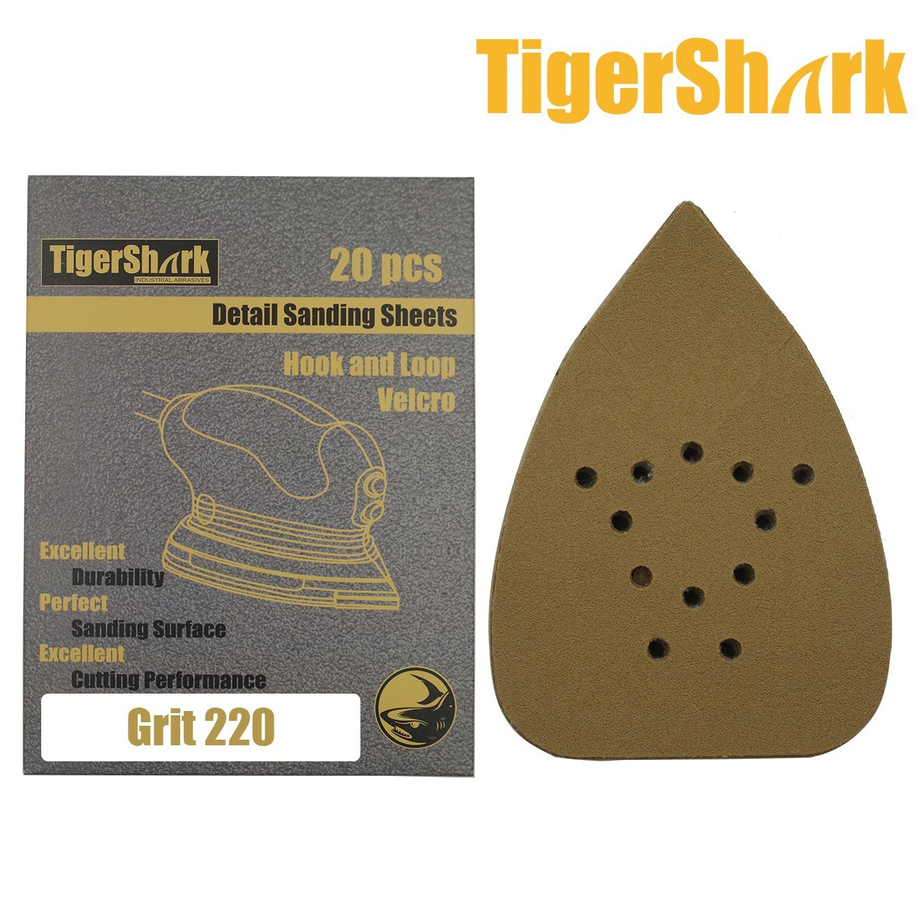 TigerShark 5-1//4 by 3-3//4 Mouse Detail Sanding Sheets Sander Paper Pads 133mm by 95mm for B/&D Grit 80 Hook and Loop 20-Pack
