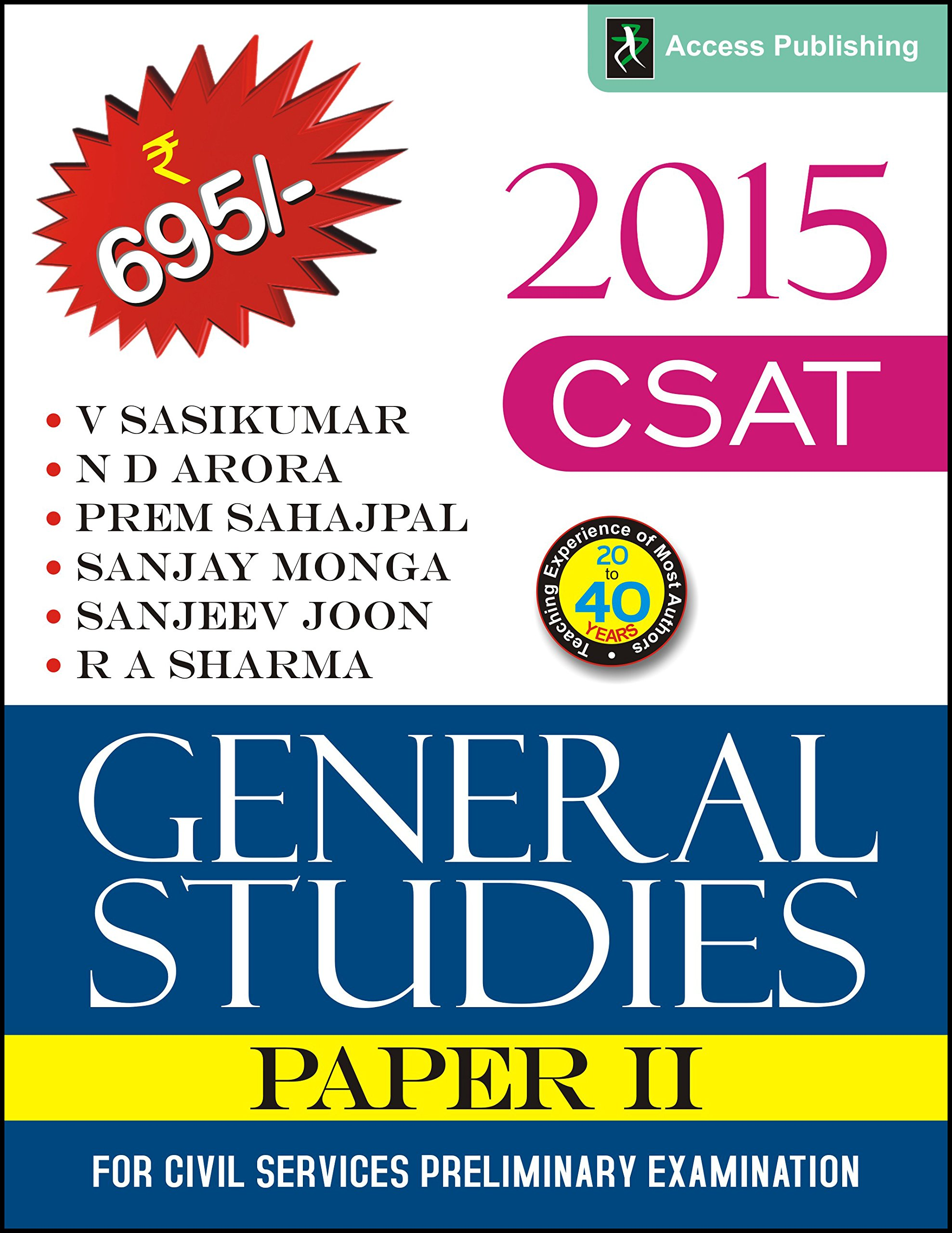Buy General Studies Paper 2 (CSAT 2015) for Civil Services Preliminary  Examination (Old Edition) Book Online at Low Prices in India   General  Studies Paper ...
