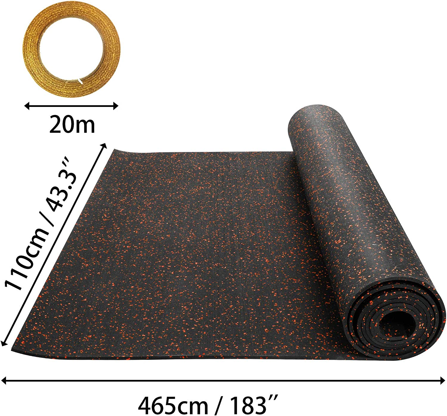 Happybuy 3.6 x 10.2 Ft Blue 6.35mm Heavy Duty Gym Flooring Rubber Rolls Vulcanized Rubber Flooring Equipment Mats for Gym or Home