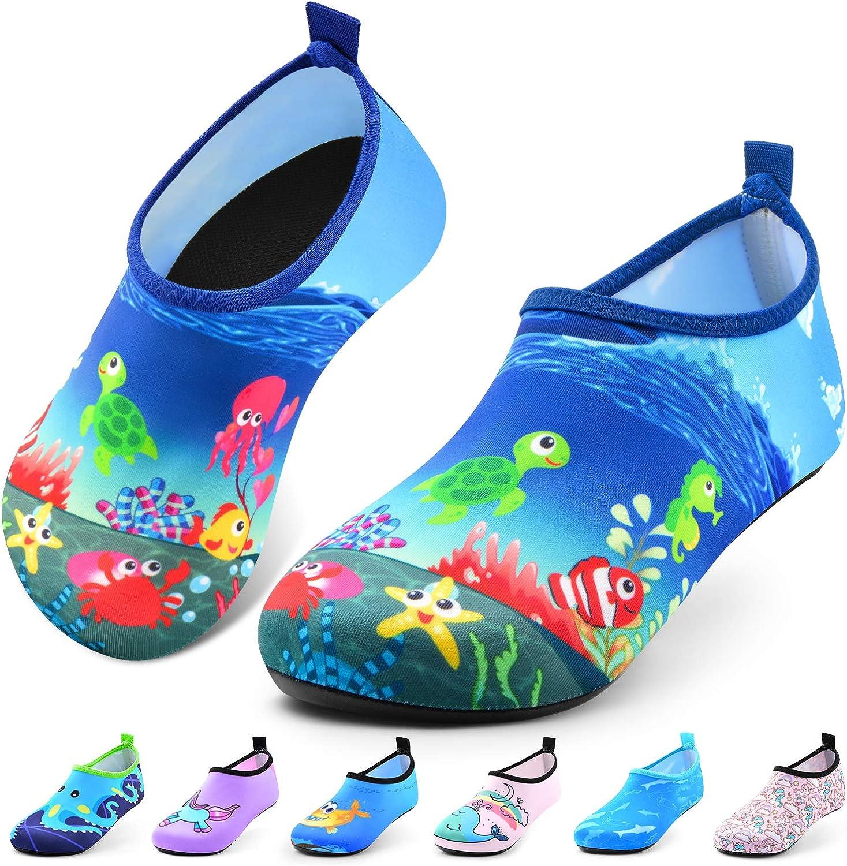 Toddler Water Shoes Kids Quick Dry Water Swim Socks Boys Girls Non Slip Aqua Socks for Beach Swim Pool(Shiny Mermaid Pink)