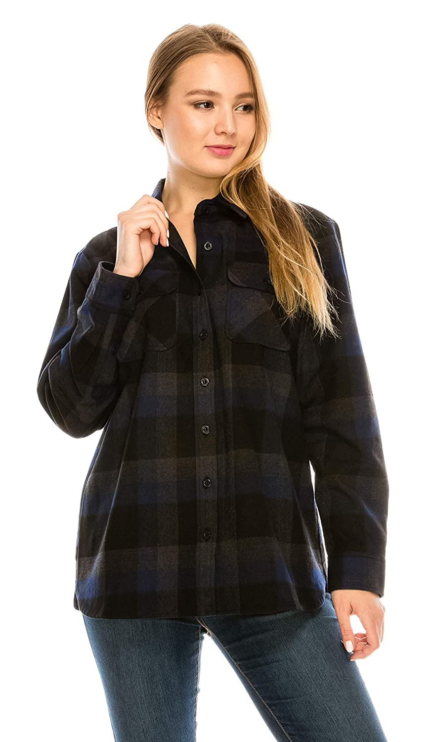 Black bluee (24f) YAGO Womens Classic Outdoor Button Up Long Sleeve Plaid Flannel Shirt