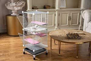 QCM Pet Hutch Cages for Hamster/Squirrel/Chinchilla/Guinea Pig/Rat or Other Small Animals Indoor, Expandable and Stackable, 14x14x36 in (Tamaño: 14 * 14 * 36 inches)