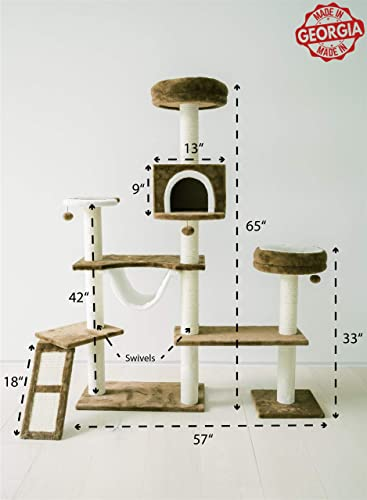 Pawmona 65 Multi-Level Cat Tree Tower Cat Activity Center with Sisal-Covered Scratching Posts, Plush Perches Condo for Cats and Kittens European Quality, 12931, Brown