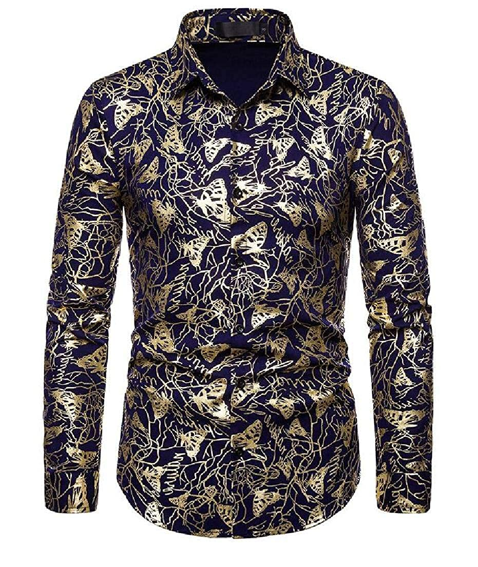 Rrive Men Button Printed Long Sleeve Luxury Regular-Fit Gold Shirts