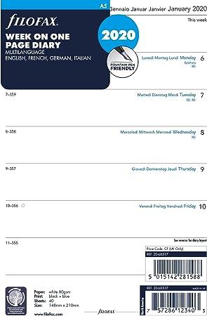 Filofax Janvier /à D/écembre 2021 Format A5 : 14,8 x 21 cm 68517-1 Recharge Pour Organiseur 4 Langues par Page