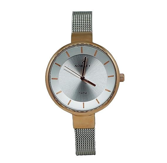 Reloj Mujer, marca Nowley, correa armix malla de acero, caja acero rosa, esfera blanca: Amazon.es: Relojes